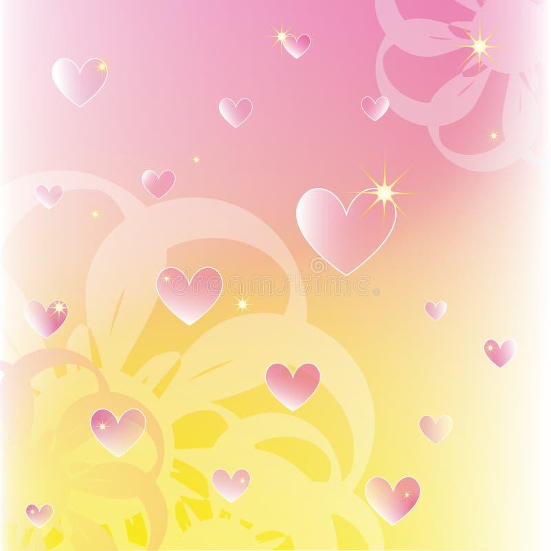 Scintillare i cuori su colore morbido fiorisce la priorità bassa royalty illustrazione gratis