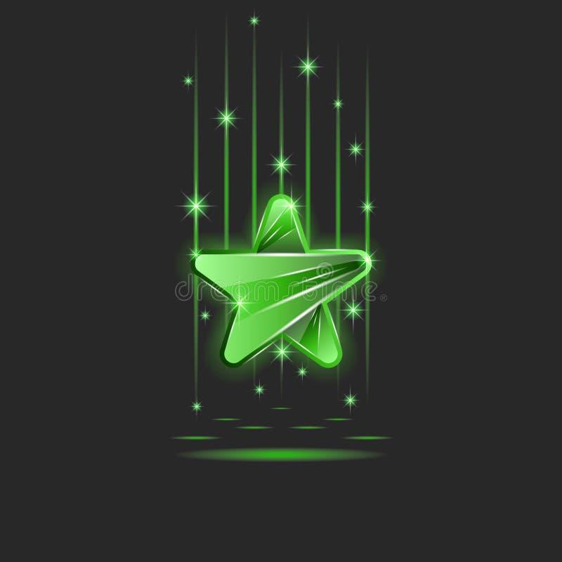 Scintillare luminoso stella verde di plastica o di vetro nei raggi di luce al neon e delle scintille, uno spazio in bianco per il illustrazione vettoriale