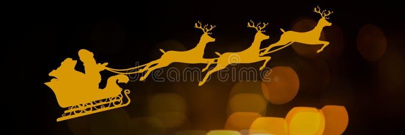 Scintillare si accende con la slitta del ` s di Santa e il ` s della renna illustrazione vettoriale
