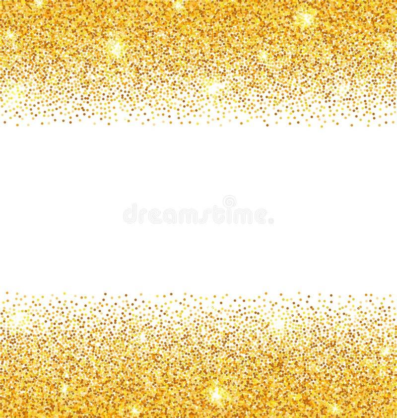 Scintille dorate astratte su fondo bianco Polvere di scintillio dell'oro illustrazione di stock