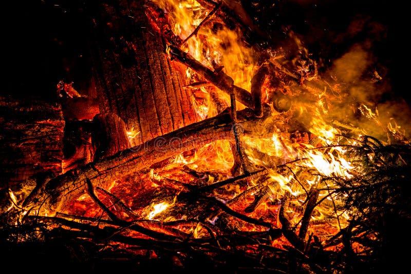 Scintille e lingue di fuoco sui rami e sui tronchi che bruciano in una b fotografia stock libera da diritti
