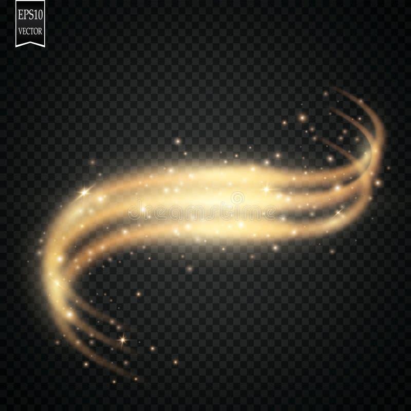 Scintille ed effetto della luce speciale di scintillio delle stelle Particelle di polvere magiche scintillanti illustrazione vettoriale