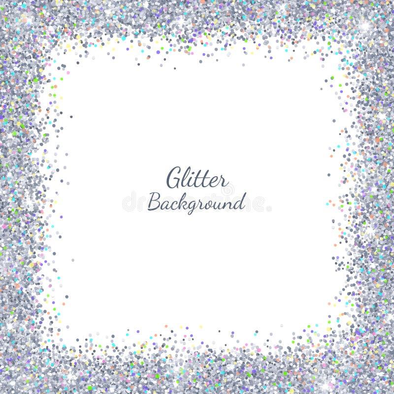 Scintillement argenté avec des points culminants colorés sur le fond blanc, cadre carré de frontière Vecteur illustration stock