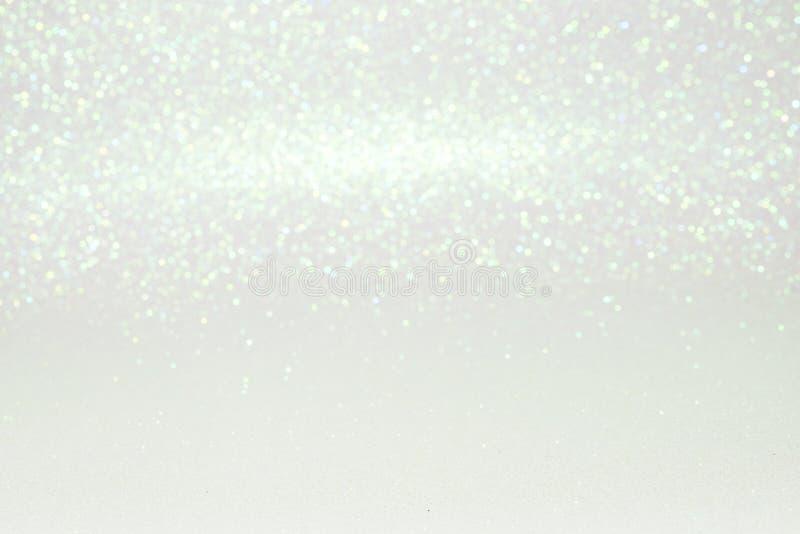 Scintillement blanc abstrait Defocused avec le fond de bokeh images libres de droits