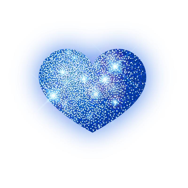Scintillement bleu de coeur isoleted sur le fond blanc Coeur bleu d'étincelles Symbole de Saint Valentin conception de l'avant-pr illustration libre de droits
