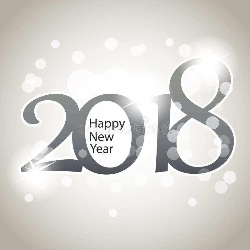 Scintillement calibre argenté de conception de Grey New Year Card, de couverture ou de fond - 2018 illustration stock