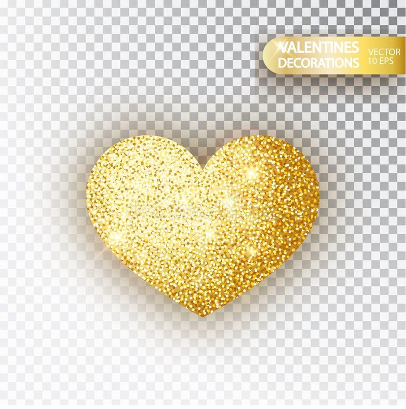 Scintillement d'or de coeur isoleted sur le fond transparent L'or miroite coeur Symbole de Saint Valentin conception de l'avant-p illustration stock