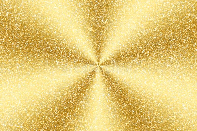 Scintillement d'or et résumé radial image stock