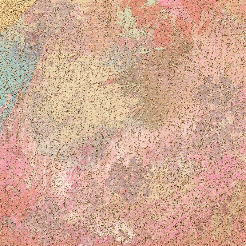 Scintillement dispersé sur le fond Fond de peinture teinté de toile Conception orientée de décor Les courses de brosse ont peint  photo stock