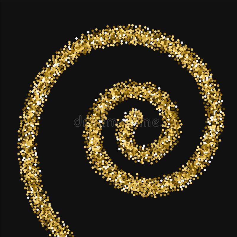 Scintillement rond d'or Spirale avec le scintillement rond d'or dessus illustration libre de droits