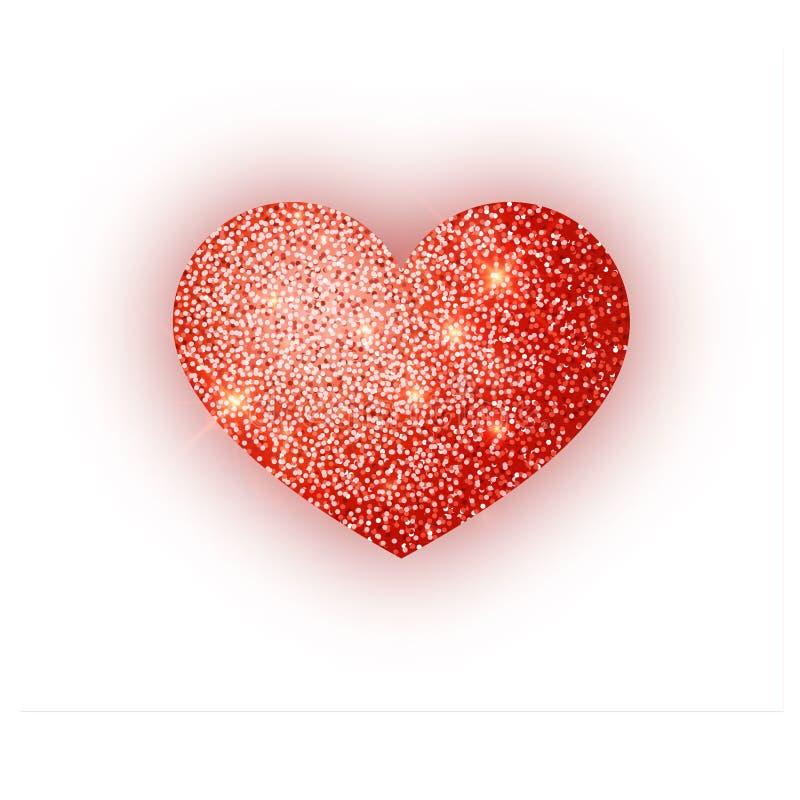 Scintillement rouge de coeur isoleted sur le fond blanc Coeur rouge d'étincelles Symbole de Saint Valentin conception de l'avant- illustration de vecteur