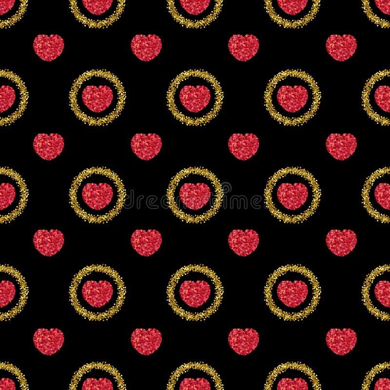 Scintillement vert Coeur des confettis rouges Configuration de coeur Étincelles d'or illustration libre de droits
