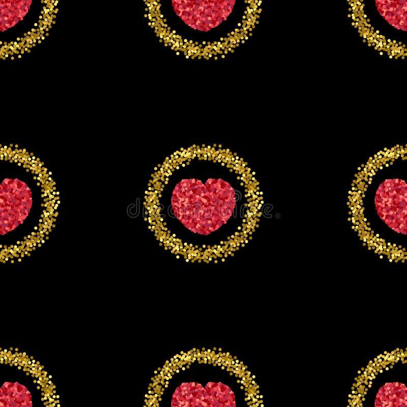 Scintillement vert Coeur des confettis rouges Configuration de coeur Étincelles d'or illustration de vecteur