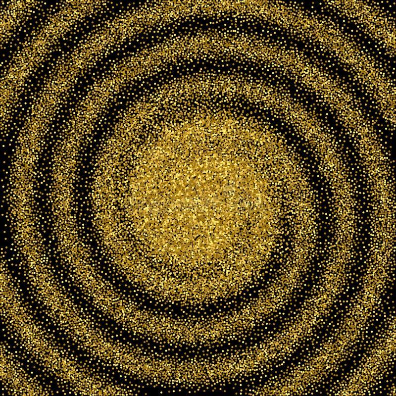 Scintillement vert Remous abstrait Fond de la poussière d'or sur le noir illustration de vecteur