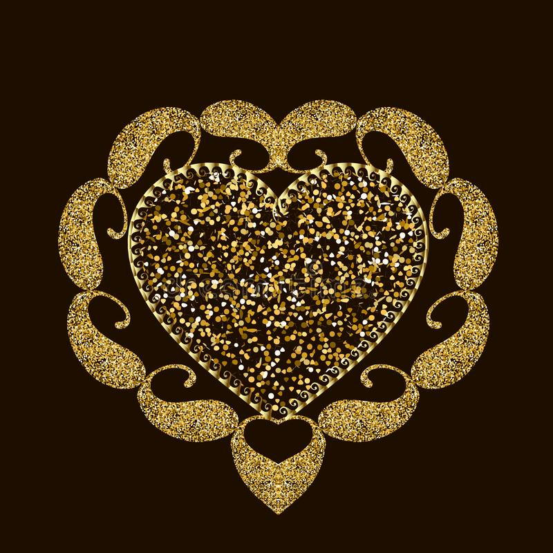 Scintillent le modèle brillant de mandala de coeur d'amour d'or Bel ornement de Paisley de vecteur de style ethnique Éclat d'or t illustration libre de droits