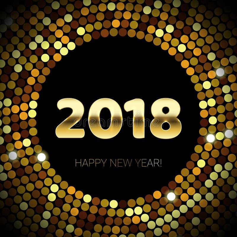Scintillio dell'oro un fondo scintillante nero di 2018 del buon anno del testo coriandoli del modello illustrazione vettoriale