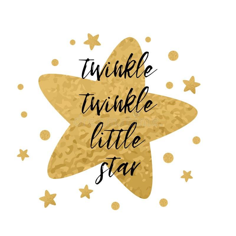 Scintillio di scintillio poco testo della stella con le stelle d'oro per il modello della carta della doccia di bambino della rag illustrazione di stock