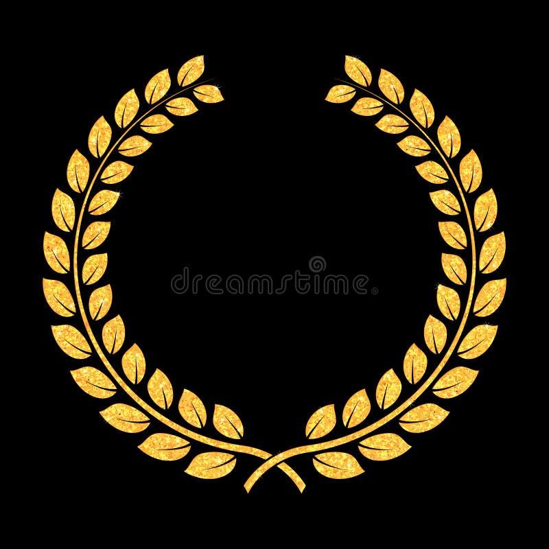 Scintillio dorato Laurel Wreath di vettore Premio per i vincitori Onorare l'illustrazione dei campioni Segno per il primo posto T illustrazione di stock