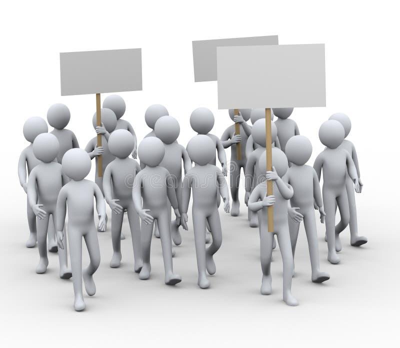 sciopero di protesta della gente 3d illustrazione vettoriale