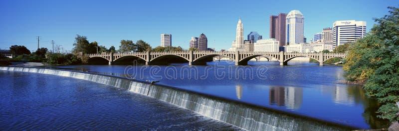Scioto flod med vattenfallet och Columbus Ohio horisont, med inställningssolljus royaltyfri fotografi