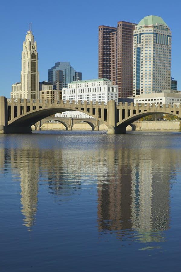 Scioto River and Columbus Ohio skyline in autumn stock photos