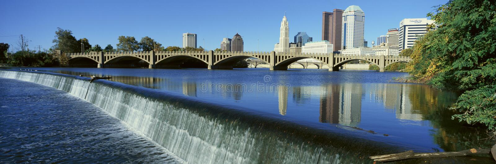 Scioto River with waterfall and Columbus Ohio skyline, with setting sunlight royalty free stock images
