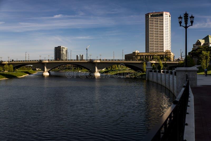 Scioto rzeka Kolumb i śródmieście, Ohio fotografia stock
