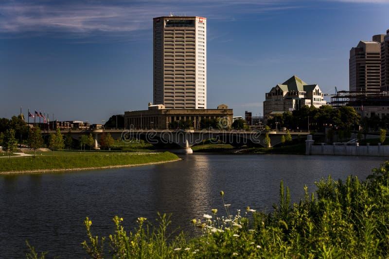 Scioto rzeka Kolumb i śródmieście, Ohio zdjęcie royalty free