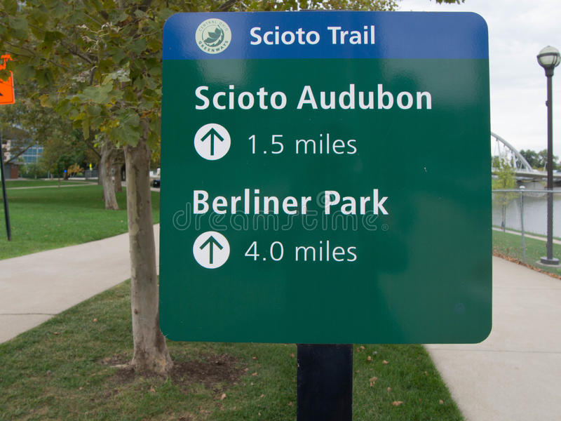 Scioto Trail Sign. Bike Trail Sign along the Scioto River in downtown Columbus, Ohio stock photography