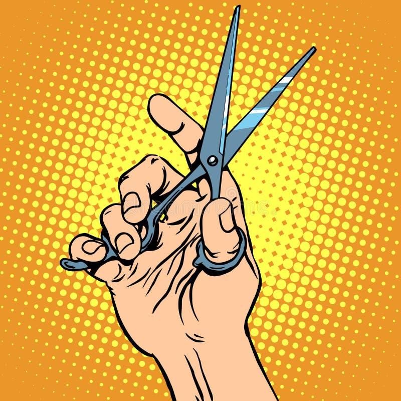Scissor al peluquero de la mano stock de ilustración