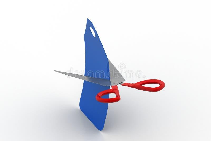 Scissor cut the price tag. In white background vector illustration