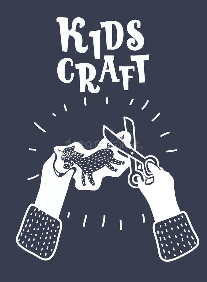 Scissor en manos de los niños Concepto gráfico moderno libre illustration
