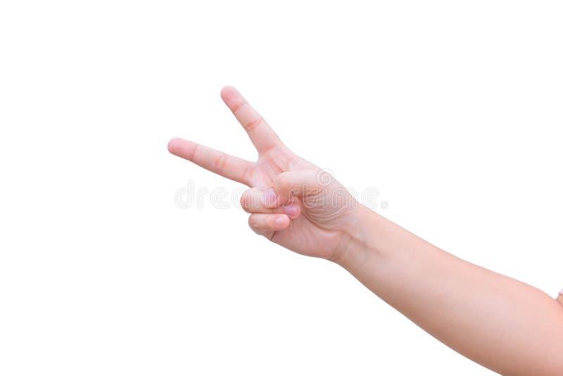 Scissor Hand mit zwei Finger oder O.K. stockfotos