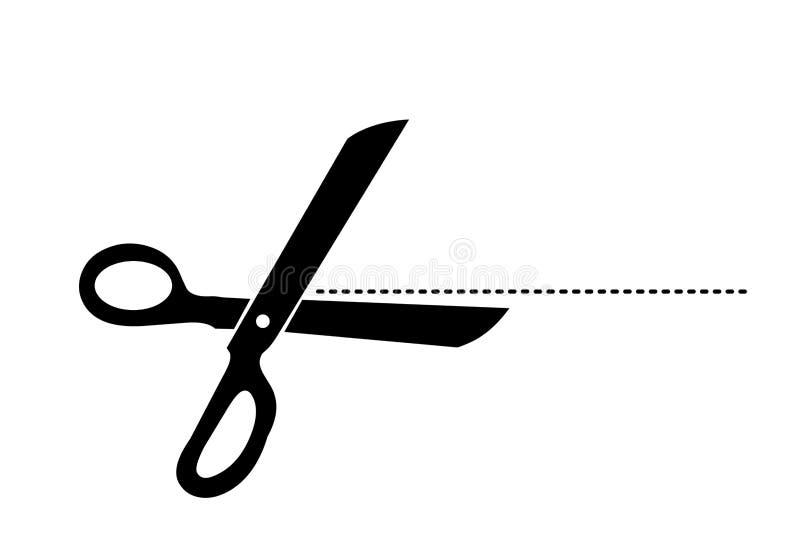 Scissor icon. Modern scissors with cut lines icon on white background. illustration design royalty free illustration