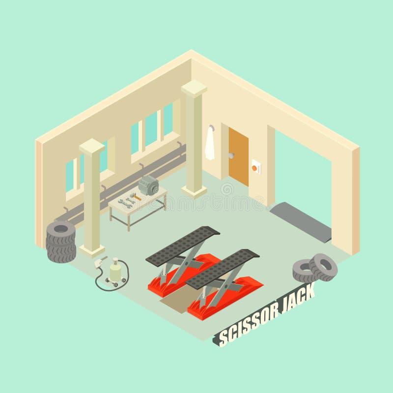 Scissor jack car garage concept background, isometric style vector illustration