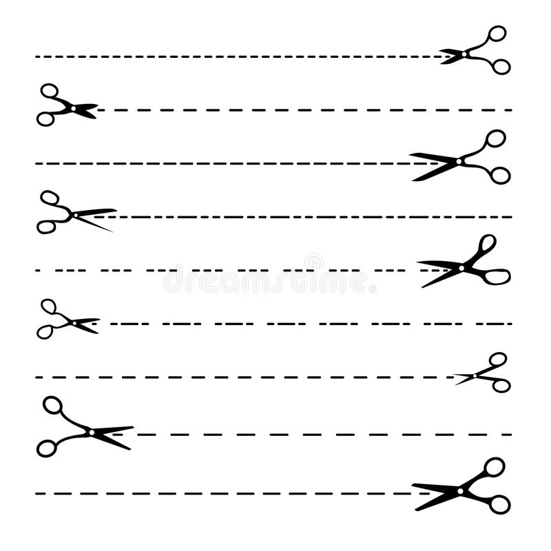 Scissor Line Vector. Set Dotted Cutting Lines. Black Edge Silhouettes. Cut Border. Cutout Template. Isolated On White vector illustration