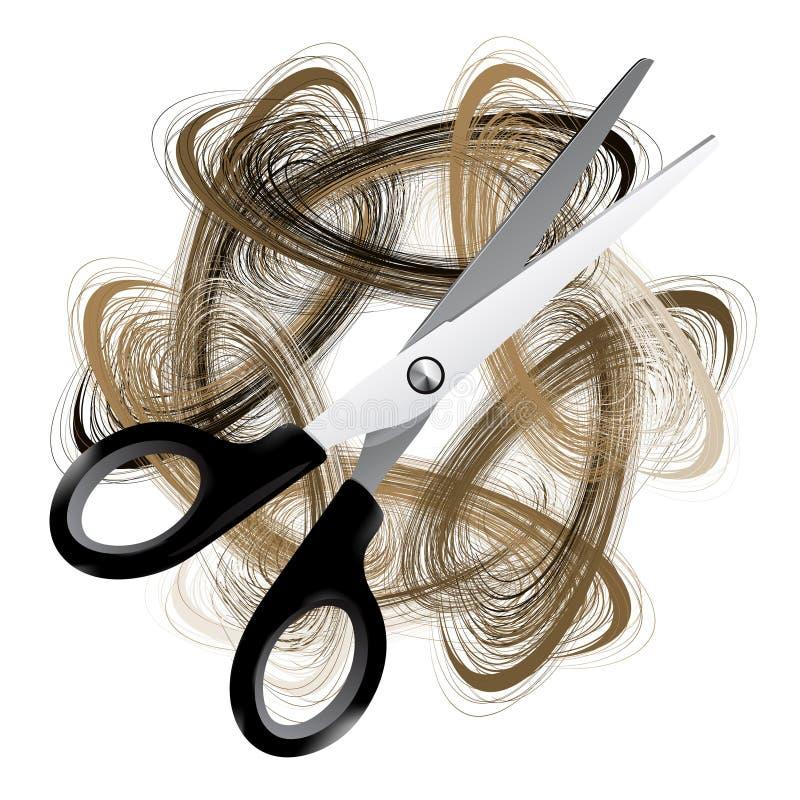 Scissor y pelo stock de ilustración