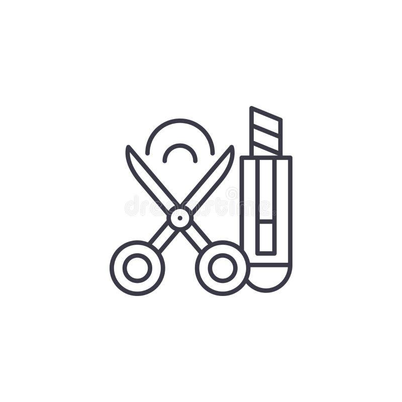 Scissors концепция значка бумажного ножа линейная Scissors линия знак бумажного ножа вектора, символ, иллюстрация иллюстрация вектора