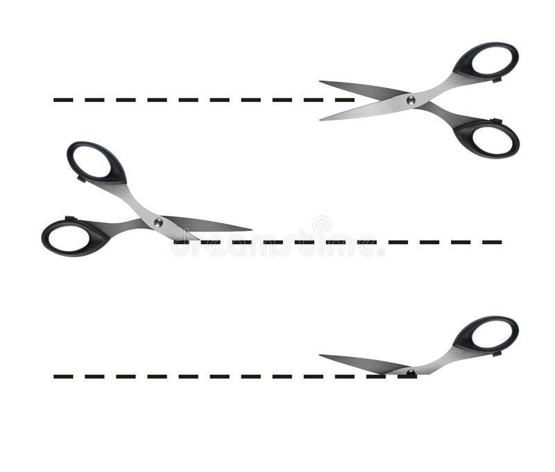 Scissors. Cutting black dashed lines stock illustration