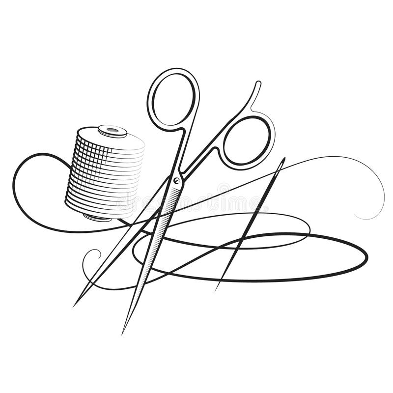 Free Scissors And Needle With Thread Stock Images - 123394694