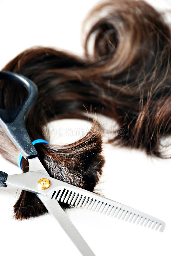 Free Scissors And Ponytail Royalty Free Stock Photos - 13865078