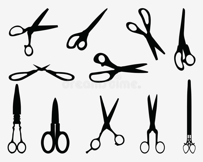 Scissors. Black silhouettes of different scissors, illustration royalty free illustration
