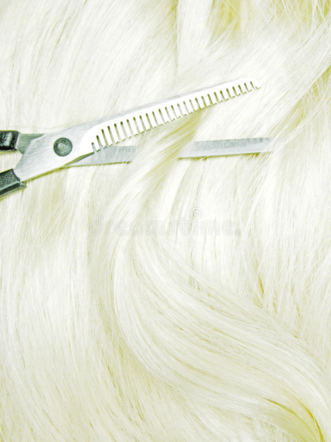 Download Scissors in blond hair stock image. Image of object, fashion - 14004655