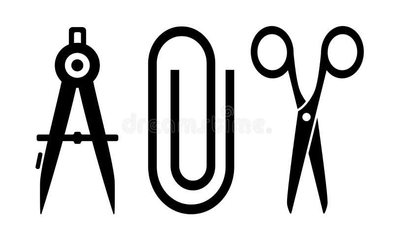 Scissors, clip and compass silhouette vector illustration