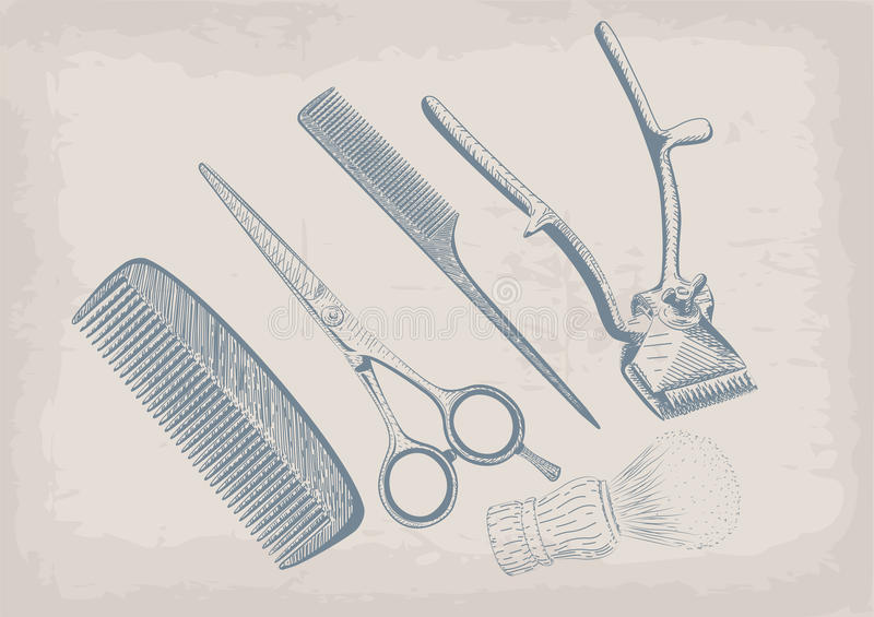 Scissors, clippers shears brush, swab, razor hairclipper blade s. Hingle barber vintage retro barbershop. Vector vertical closeup top view beautiful old school stock illustration