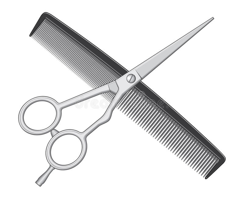 Scissors and Comb vector illustration