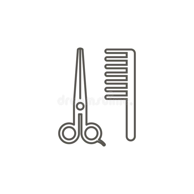 Scissors, comb, barber vector icon. Simple element illustration from map and navigation concept. Scissors, comb, barber vector royalty free illustration