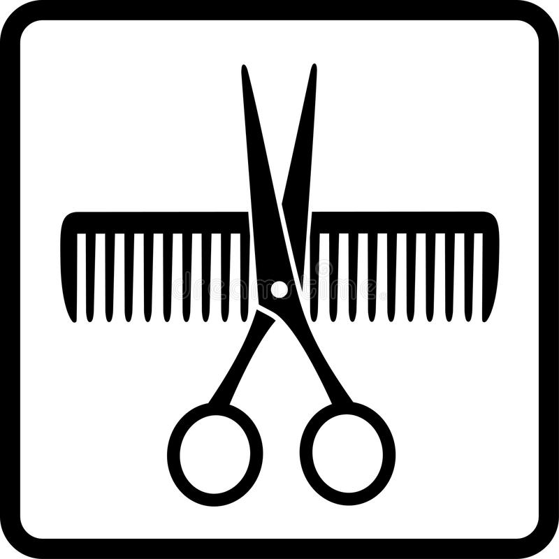 Scissors and comb royalty free illustration