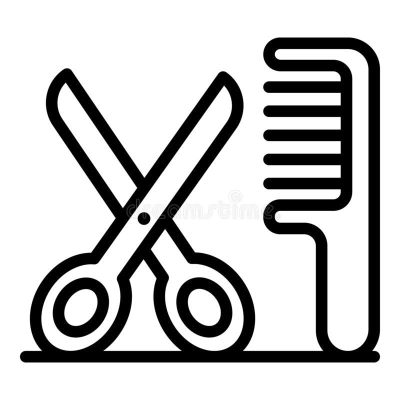 Scissors and comb icon, outline style royalty free illustration