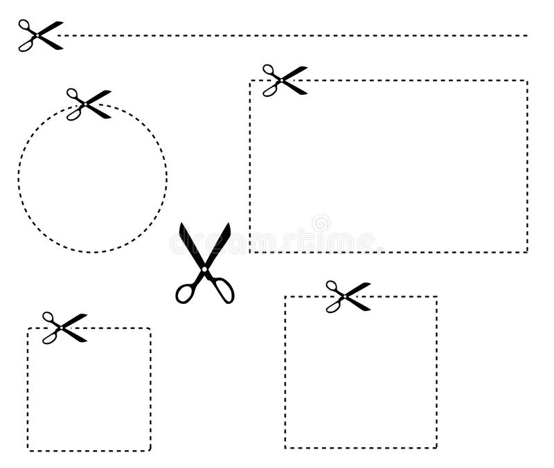 Scissors cut dotted line stock photo